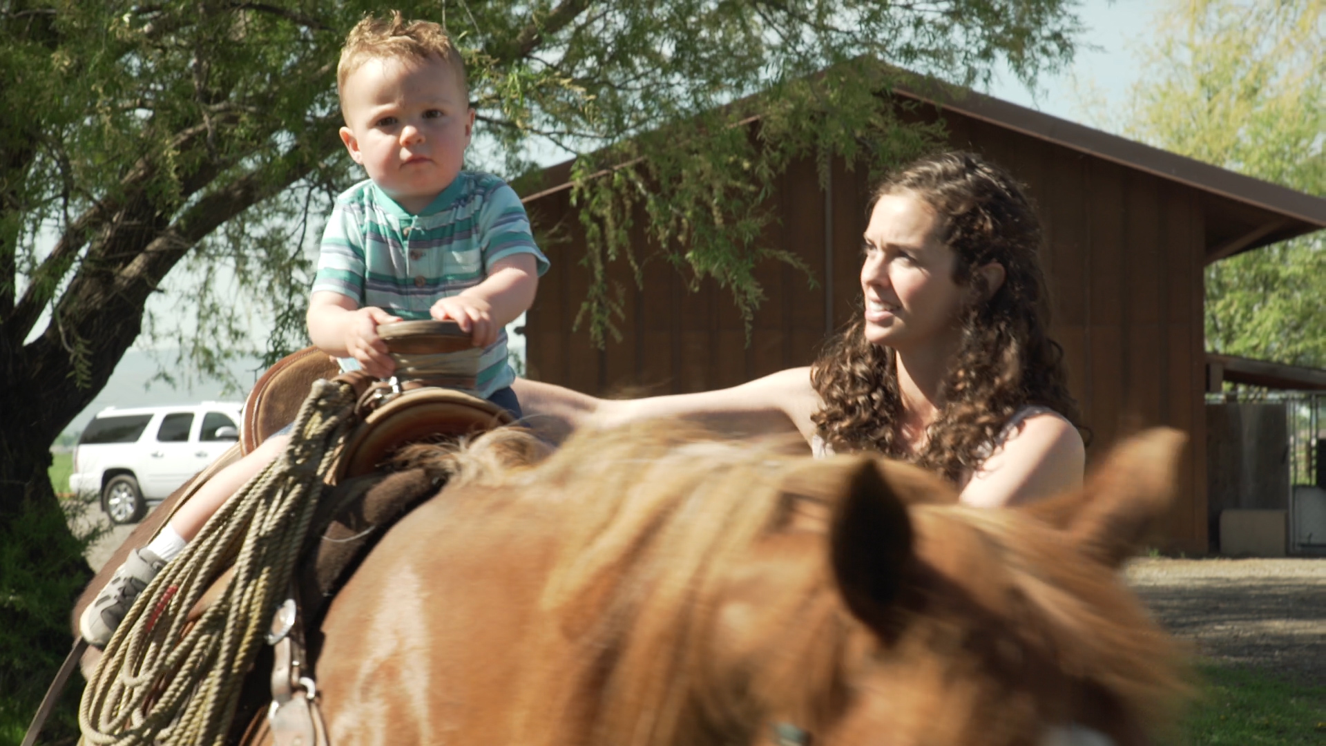 Mays grandson on horse
